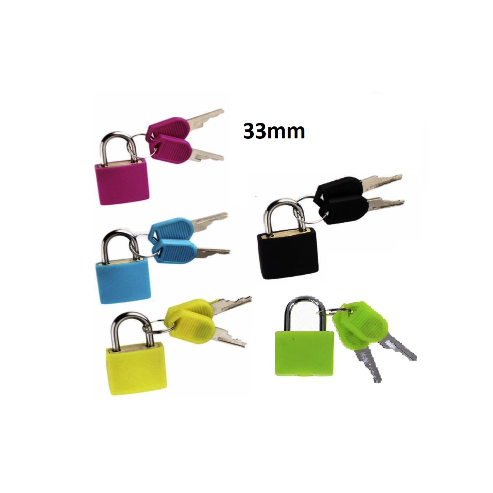 Neon Colored Plastic Coated Brass Padlock Premium Quality Travel Luggage Office Home Locker Cabinet Alloy Padlock 33mm