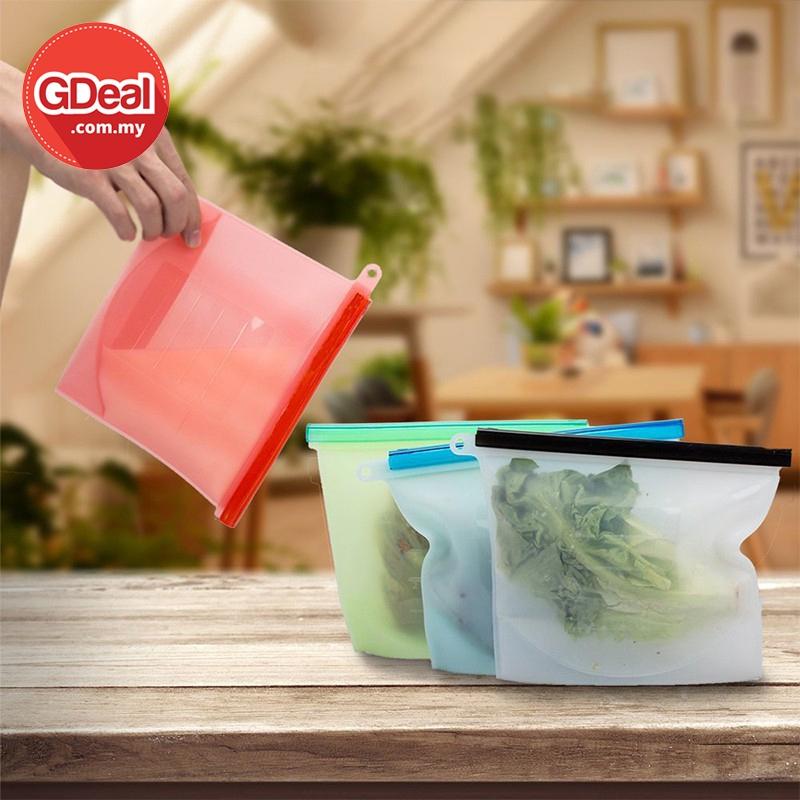 GDeal Kitchen 1000ML Silicone Fresh Keeping Bag Food Snacks Vacuum Sealed Bag Beg Penyimpanan Makanan بيڬ ڤنڽيمڤنن ماكنن