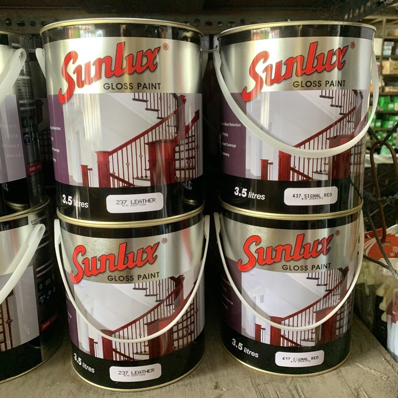 3.5 Liter SUNLUX Gloss Paint Glossy Wood Or Metal Paint / Cat Kayu Dan Besi