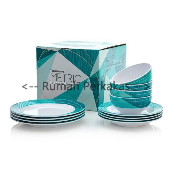 (Original Products 100%) Tupperware Metric Melamine Collection 12pcs Melamine Dining Sets Bazar Eid