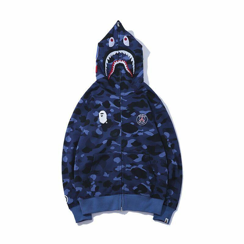 Splice A Bathing Ape BAPE Shark Head Camouflage Sweatshirt Coat Hoodie Jacket