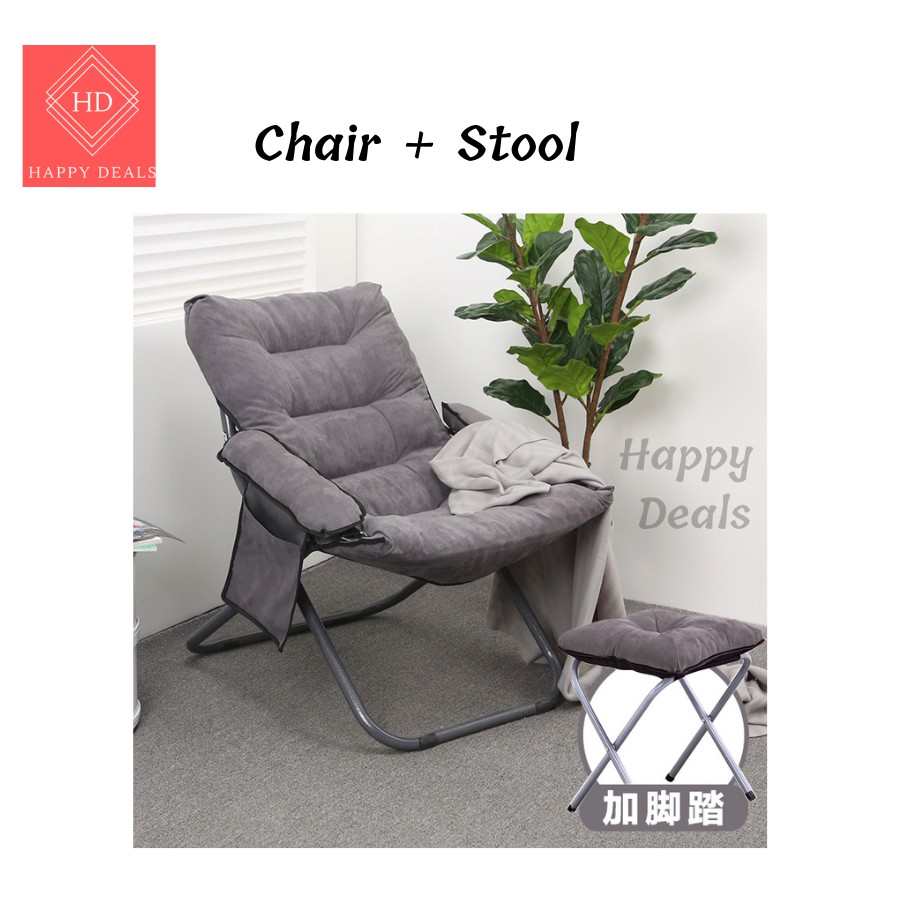 Happy Deals Lazy Chair Nordic Kerusi Malas Arm Wing Chair + Stool/Lazy Chair / Sofa with Stool /SOFA SINGLE /RELAX CHAIR