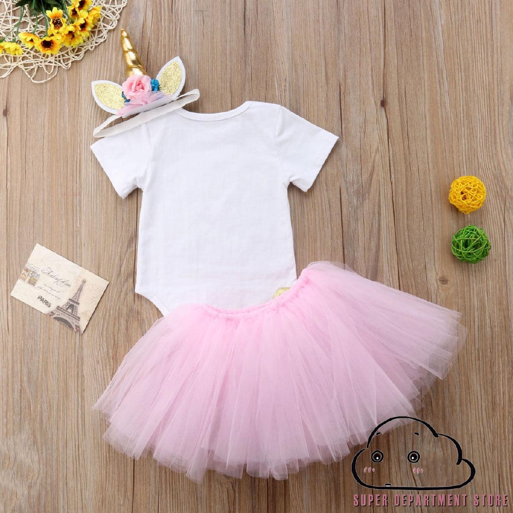 Canis Newborn Baby Girls Unicorn Birthday Party Romper Tutu Skirt Dress Outfits