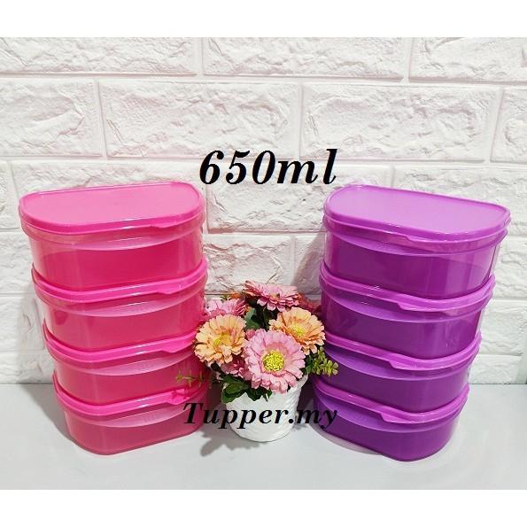 *Purple 2pcs*Tupperware Stack 'Em All lunch box Half Fridge Stackable 650ml Pink Or Purple