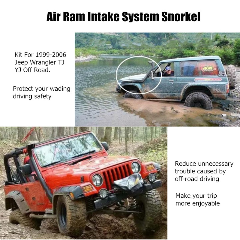 Jeep Wrangler Tj Yj Snorkel Ram Air Intake System Black 4X4 4Wd ...