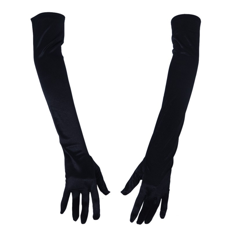 Valentines Womens bride White Elastic Satin Elbow Embroidery Gloves Fancy Dress