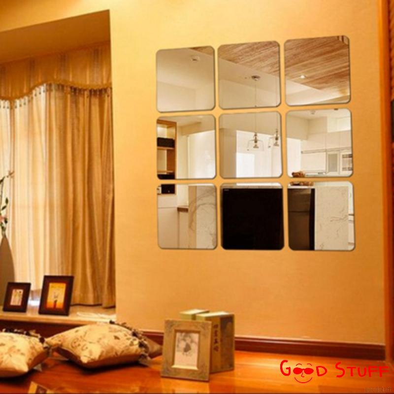 6pcs Square Mirror Tile Wall Stickers