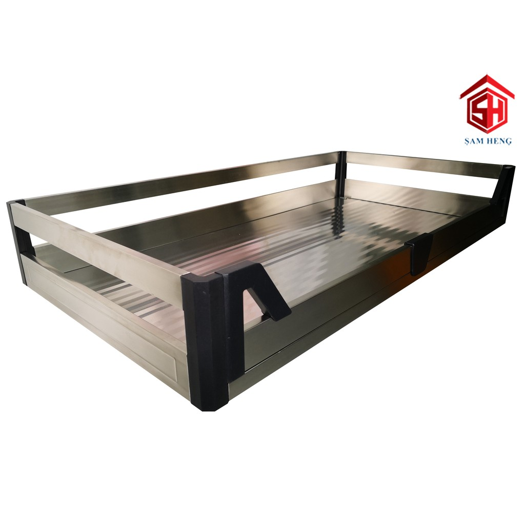 KITCHEN CABINET 800MM / 900MM PULL OUT BUILT IN STAINLESS STEEL STOVE DRAWER BASKET | Shopee ...