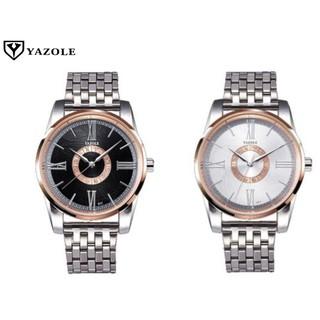 YAZOLE 377 Fashion Men Quartz Watch Roman Numeral Stainless Steel Wrist Watch