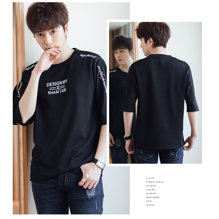 Short Sleeve The embroidery Printed Tops Fashion Korean Loose T Shirt Men