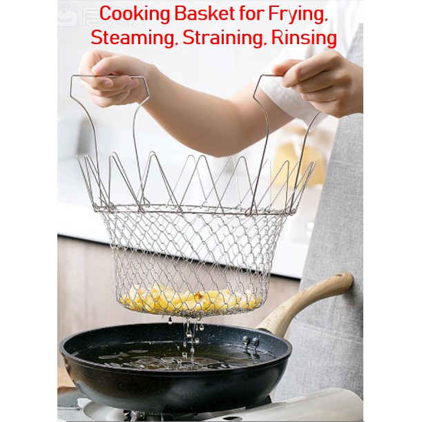 MALAYSIA: BAKUL PENAPIS MENGORENG, MEREBUS / Basket for Boil Steam/ Cook/ Fry /Foods Kitchen Tool /Steam /Rinse
