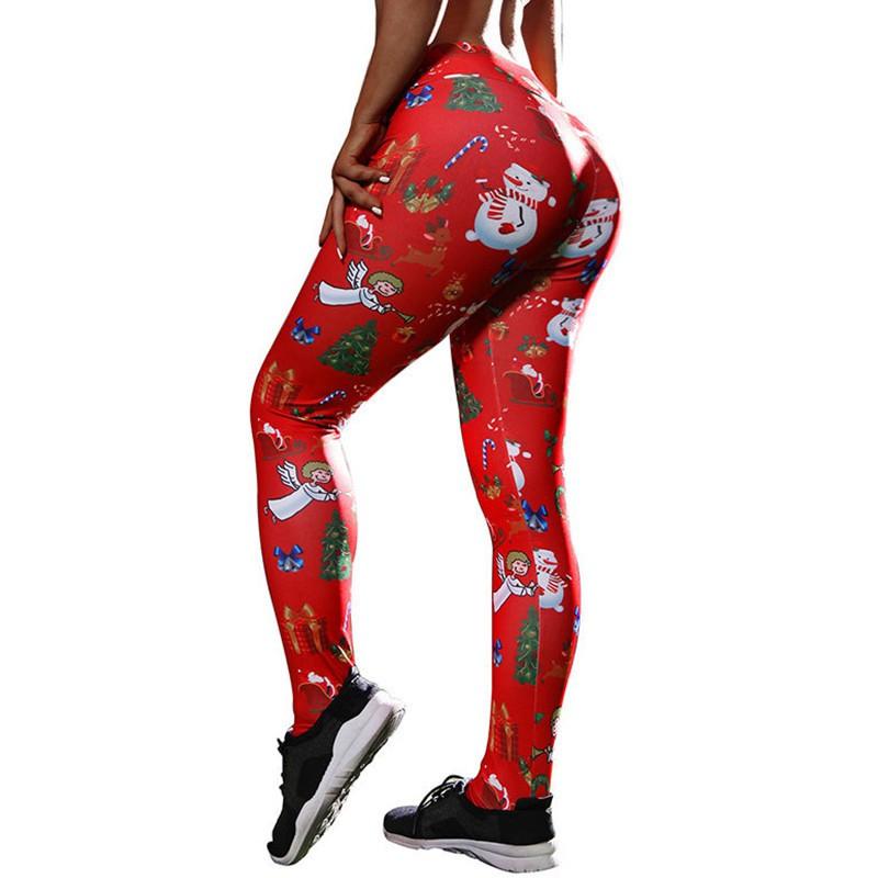 Christmas Tree Print Leggings Christmas Yoga Pants High Waist Leggins