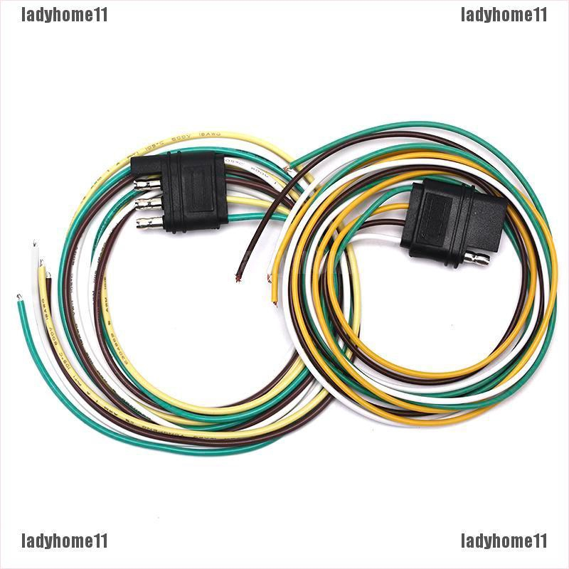 LD11¶Trailer Light Wiring Harness Extension 4-Pin Plug 18 AWG Flat on