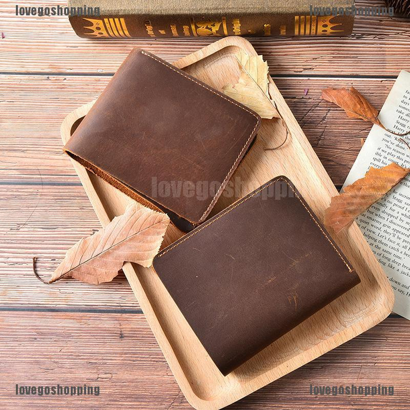crazy horse leather wallet short purse handmade retro simple men's wallet