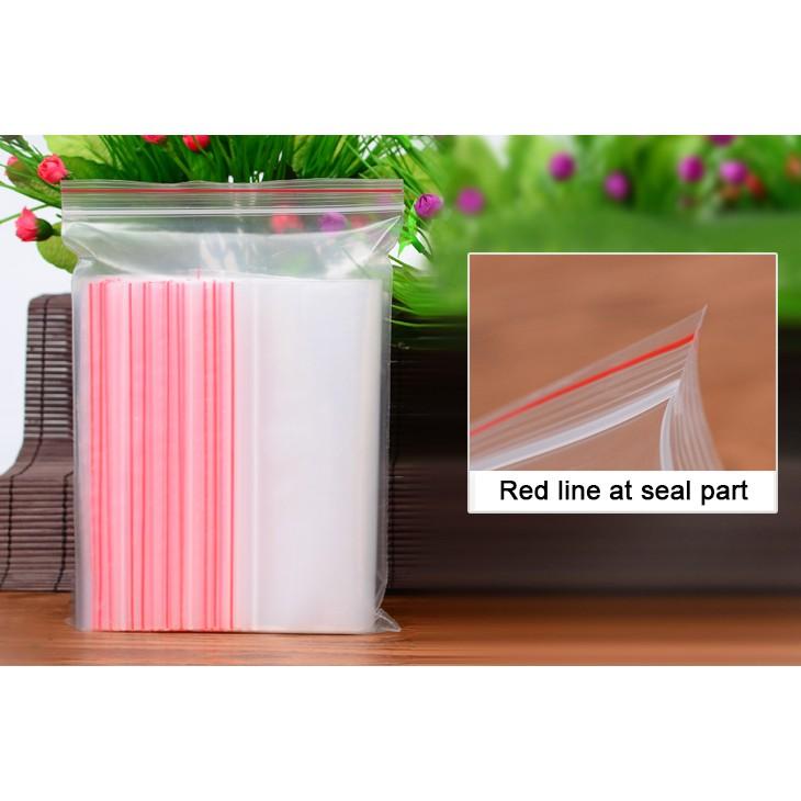 100 Pcs 11cm x 7cm Red Line Zip Locking Adhesive Sealing Plastic Bags