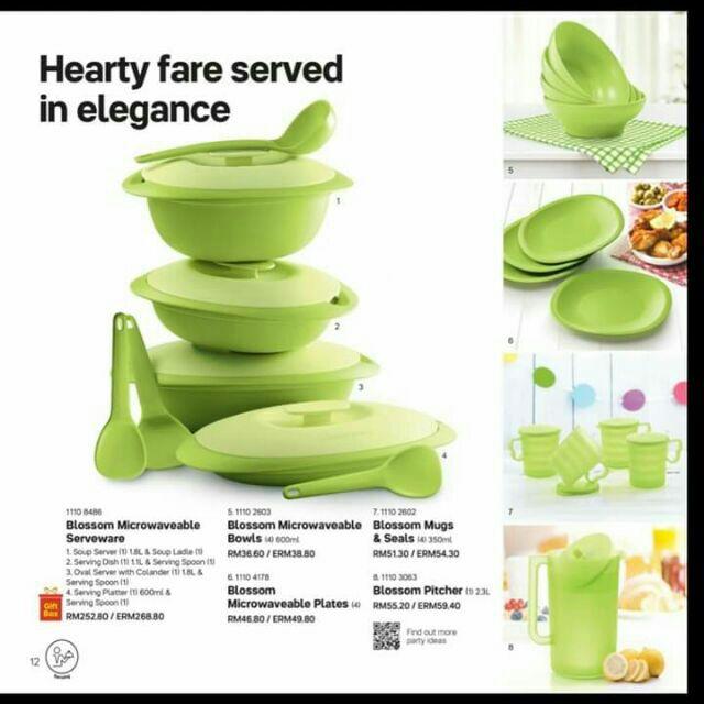 🔥SALE!! 🔥Tupperware FullSet hijau blossom microwaveable