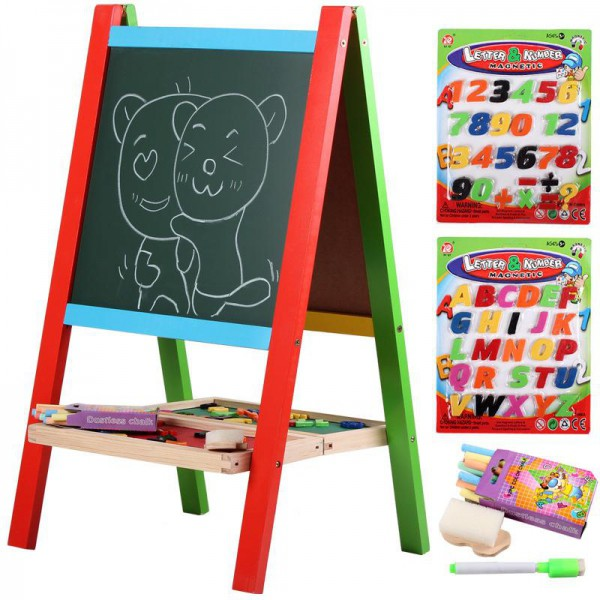 WOODEN PORTABLE 2 IN 1 BLACKBOARD AND WHITEBOARD EASEL SET