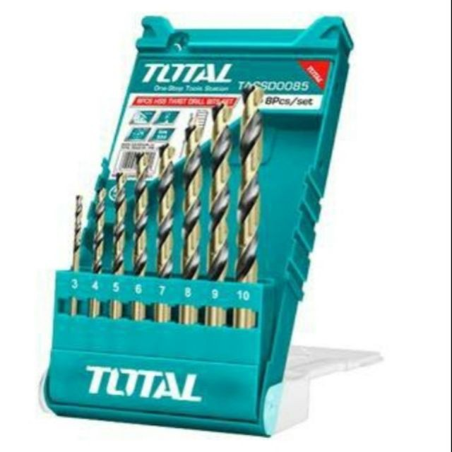 TOTAL TACSD0085 8 Pcs HSS Twist Drill Bits Set