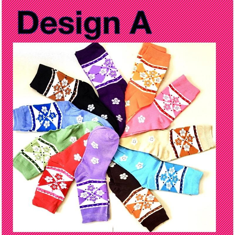 Stylish Women Girl Long Cotton Socks Creative Butterfly and Flower Design