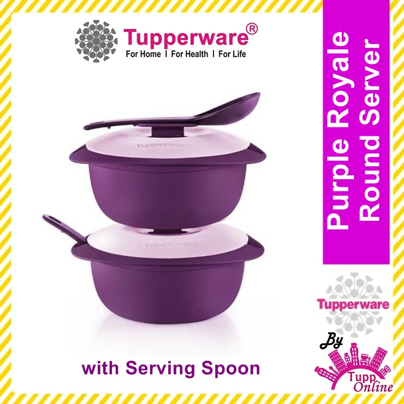 Original TUPPERWARE Purple Royale Round Server with Serving Spoon (2) 1.6L [Ready Stock]