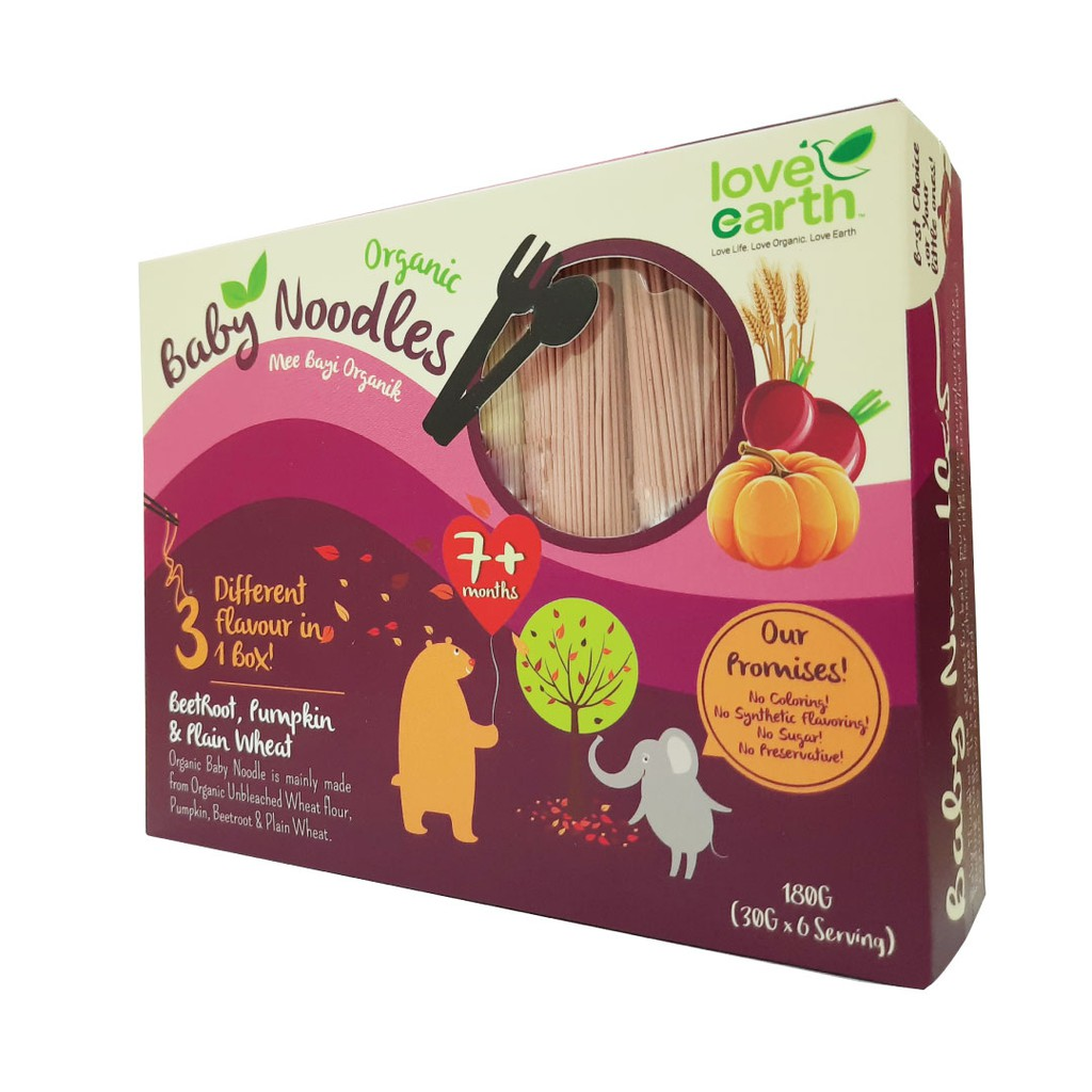 Organic Baby Noodles Beetroot, Pumpkin & Plan Wheat 180G (30G X 6 Serving) Halal