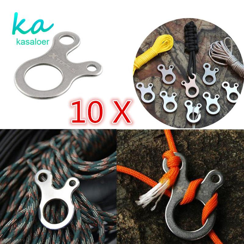 10x EDC Outdoor Multi-purpose Survival 3 Hole Buckle CNC Stainless Knotting Tool