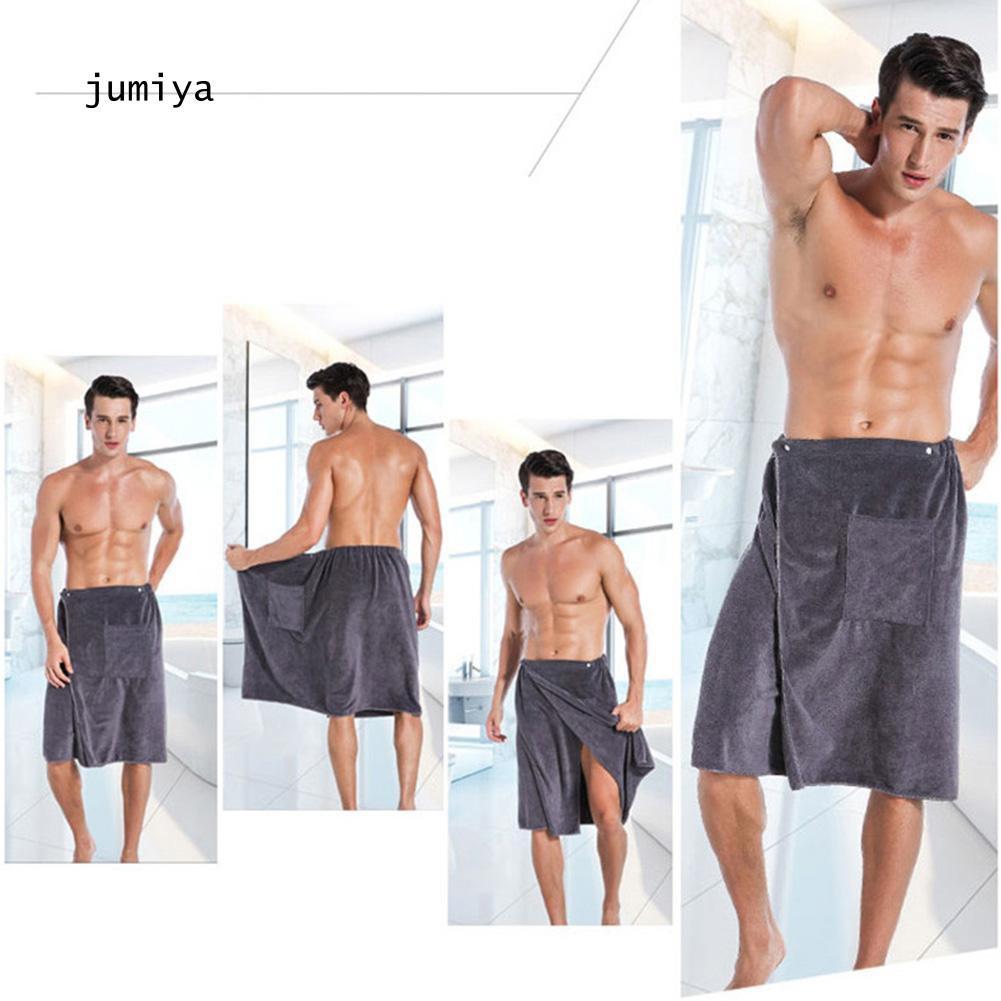 Mens Adjustable SPA Shower Wearable Towel Wrap Shorts Bath Skirt Beach Bathrobe