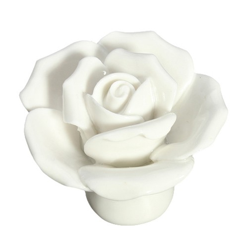 10pcs Vintage Rose Flower Ceramic Door Knobs Handle Drawer White  DT