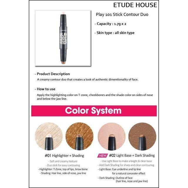 [Etude House] Play 101 Stick Contour Duo AD / highlighter/cheek/cosmetic/korea | Shopee Malaysia