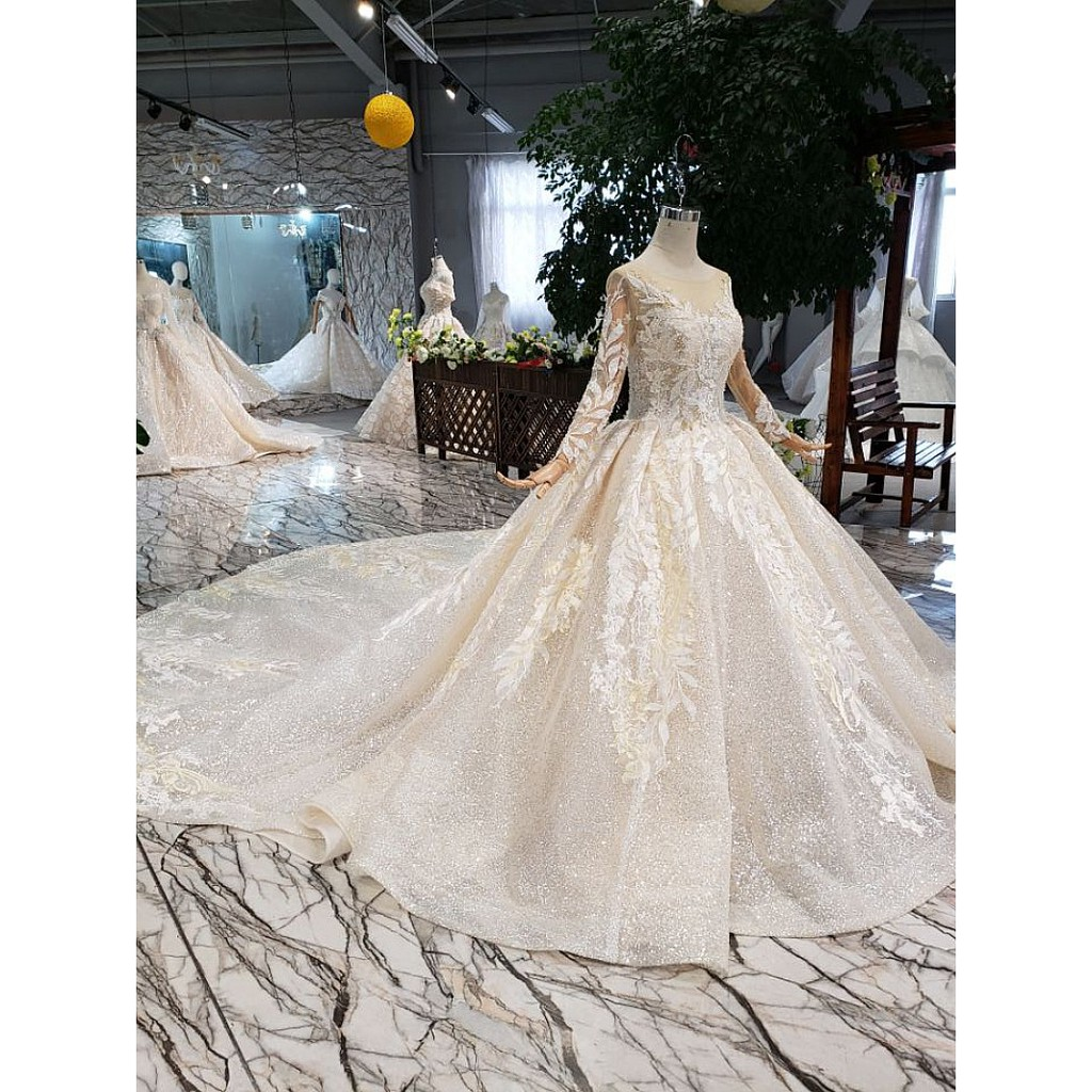 BEAUNIQUE Luxury Tailor Made Champagne Long Sleeve Baju Pengantin Muslimah  Bridal Gown Wedding Dress Premium Wear Retro