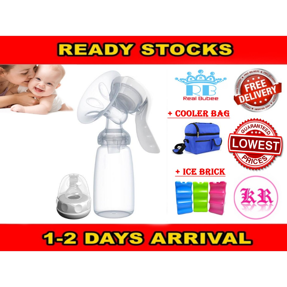 Real Bubee Manual Single Breast Pump Milk Storage Bottle Cooler Bag Ice Brick  Shopee -7535
