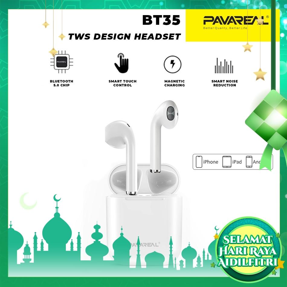 PAVAREAL PA-BT35 TWS Smart Touch V5.0 Bluetooth Wireless Headset Hi-Fi Sound Nature & Pure Binaural Call Siri