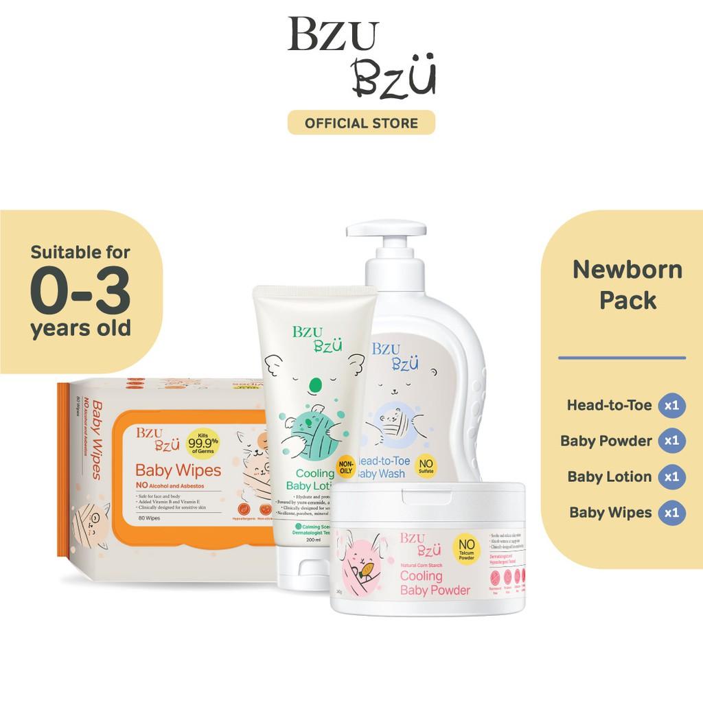 BZU BZU Newborn Pack - Head To Toe Baby Wash (600ml) + Baby Lotion (200ml) + Baby Powder (140g) + Baby Wipes (80 Pcs)