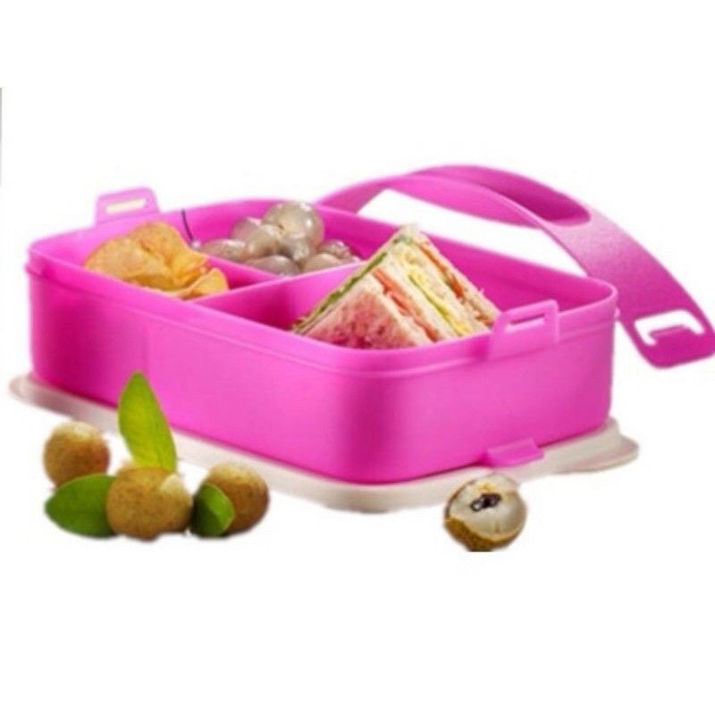 Tupperware Click To Go Rectangular Divided Lunch Box with Handle 900ml