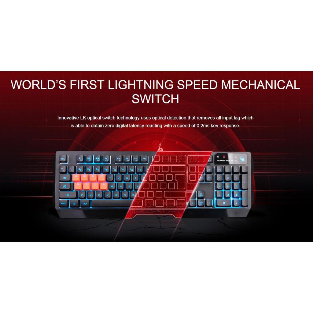 Bloody Light Strike 8-Infrared Mechanical Switch Gaming Keyboard B188 + FREE GIFT
