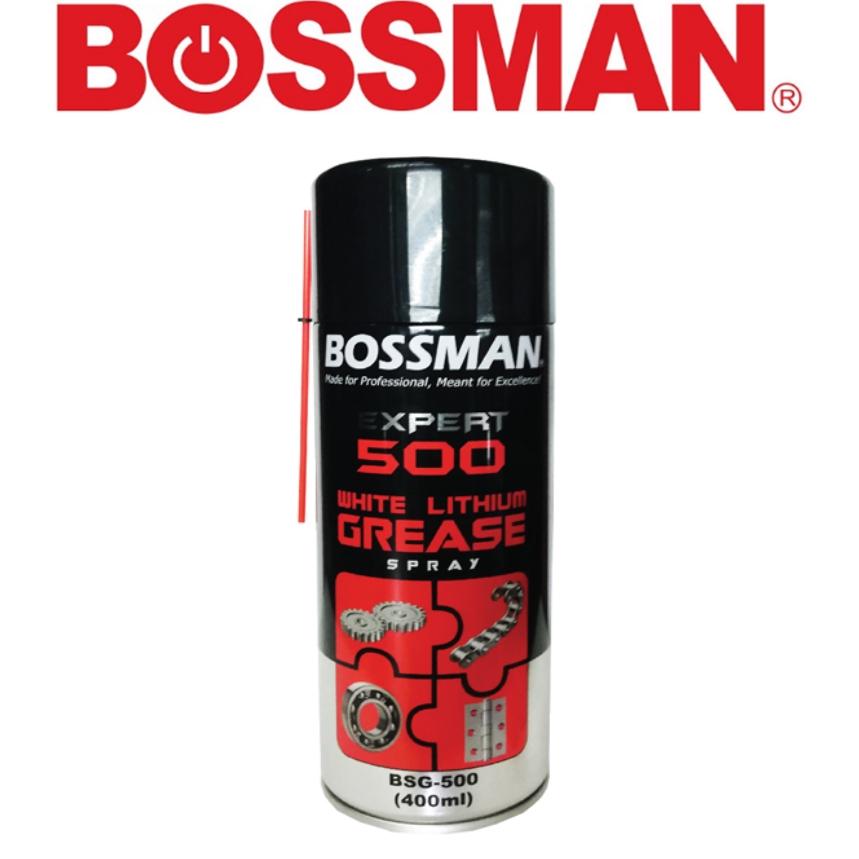 READY STOCK ! BOSSMAN BSG-500 EXPERT WHITE LITHIUM GREASE SPRAY 400ML