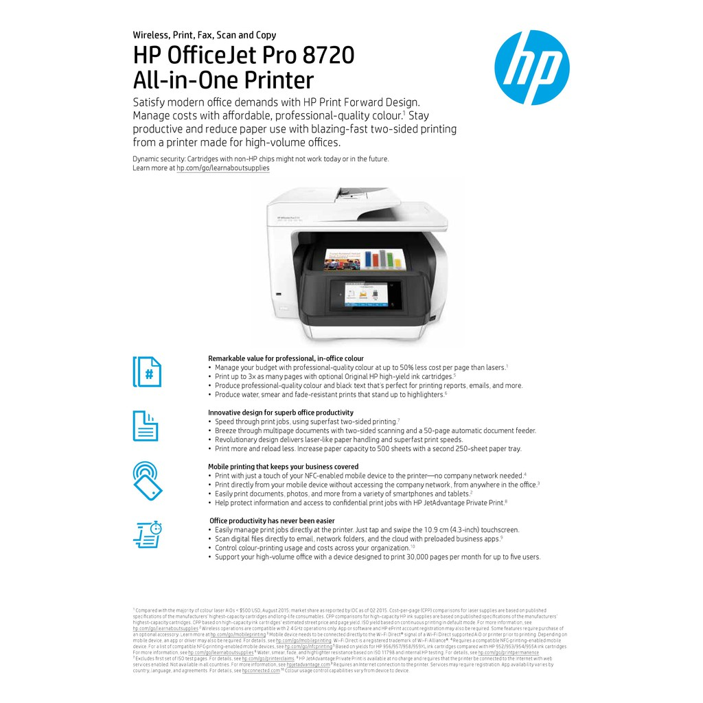 HP OfficeJet Pro 8720 All-in-One Printer (D9L19A) (Print, copy, scan, fax)