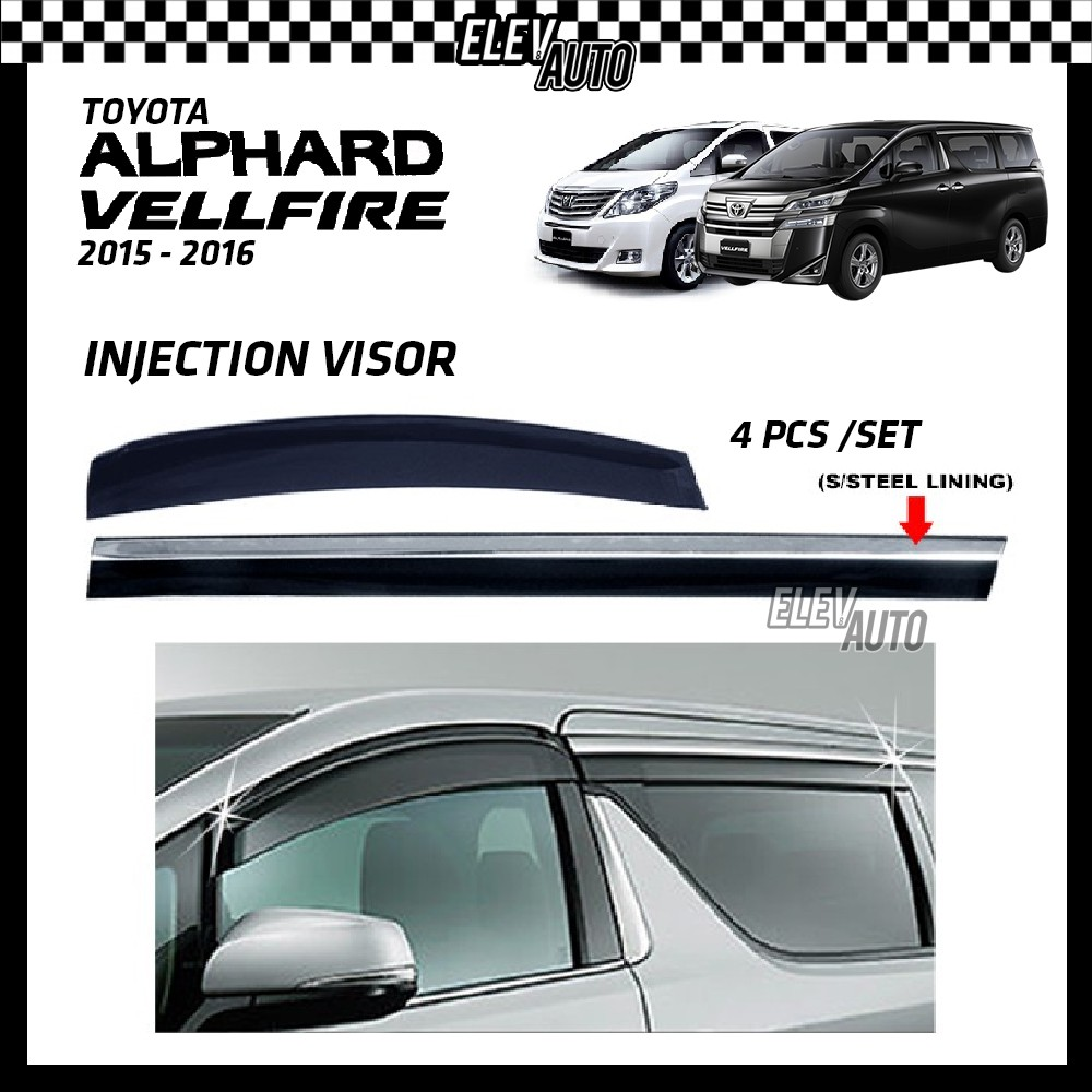 Toyota Alphard / Vellfire ANH30 2015-2021 Injection Door Visor with Stainless Steel Chrome Lining
