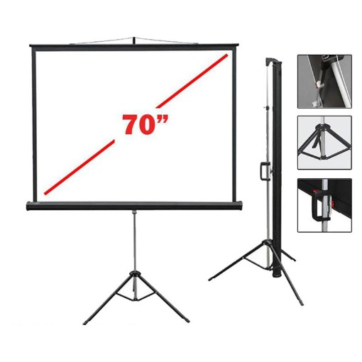"MEKI 6' x 6' TRIPOD SCREEN 70"" x 70""- MATTE WHITE"