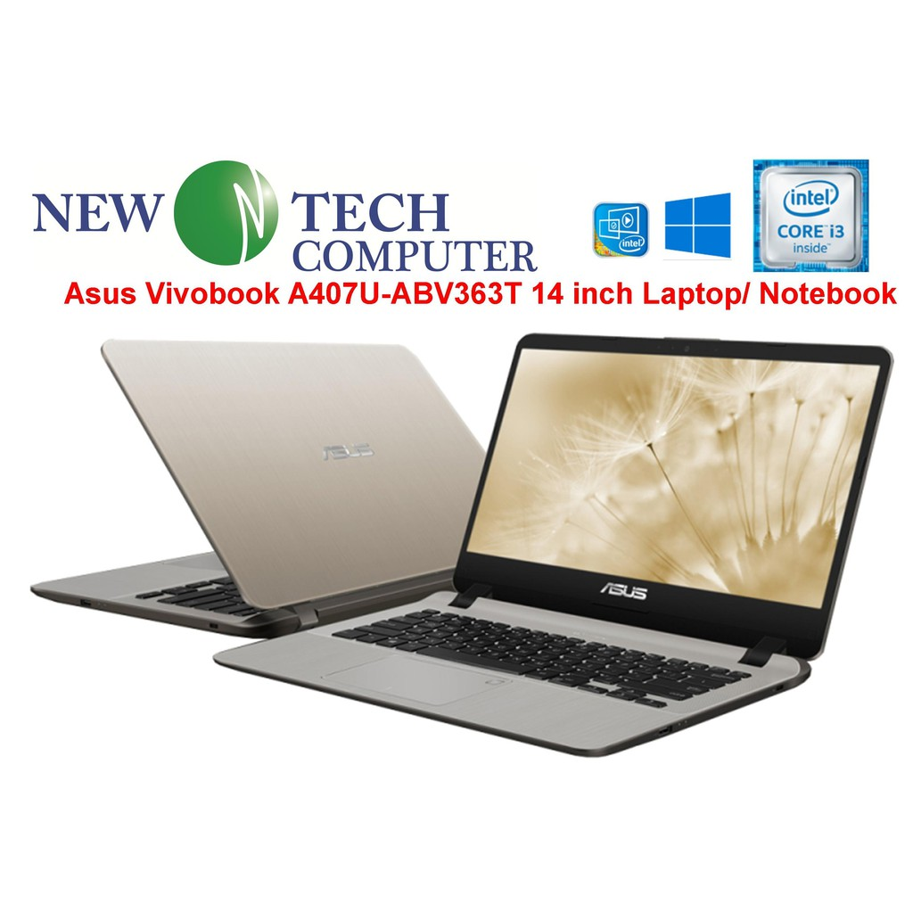 Asus Vivobook A407U-ABV363T GOLD 14 inch Laptop Notebook (i3-8130U, 4GB,  1TB, W10)