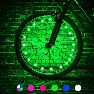 2-UNITS Bicycle Rim Lights 20 LED Bike Wheel LIGHT String Strip Lamp Spoke GREEN