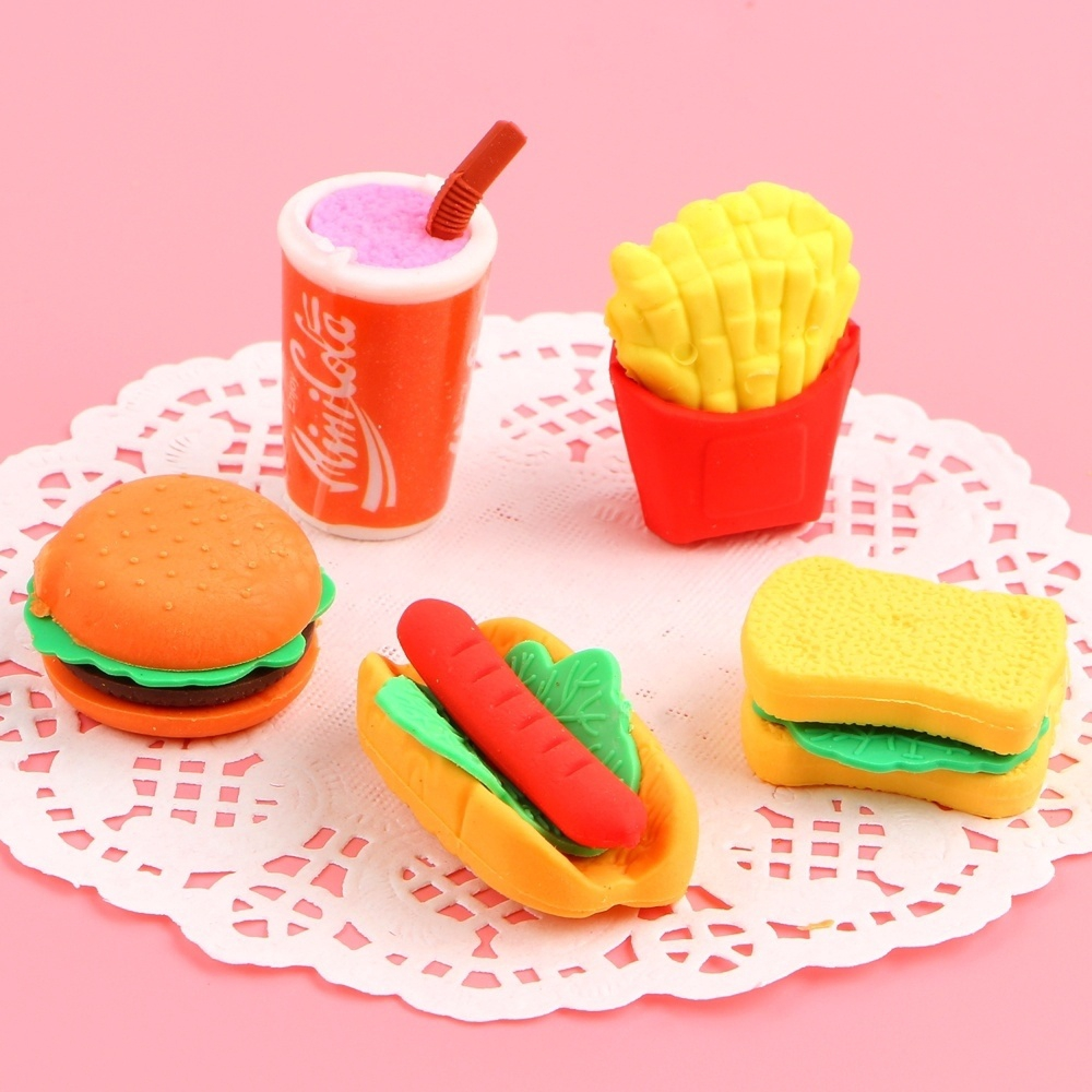New Kids Pencil Eraser Rubber Set Party Bag Fillers Coffee Sandwich Pie Pastry