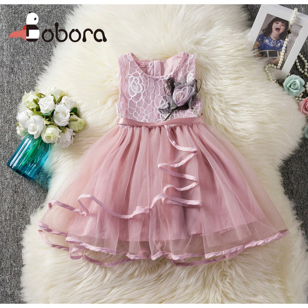 fa06617dad915 ProductImage. ProductImage. BOBORA Kids Girls Baby Summer Sleeveless Princess  Dress Lace ...