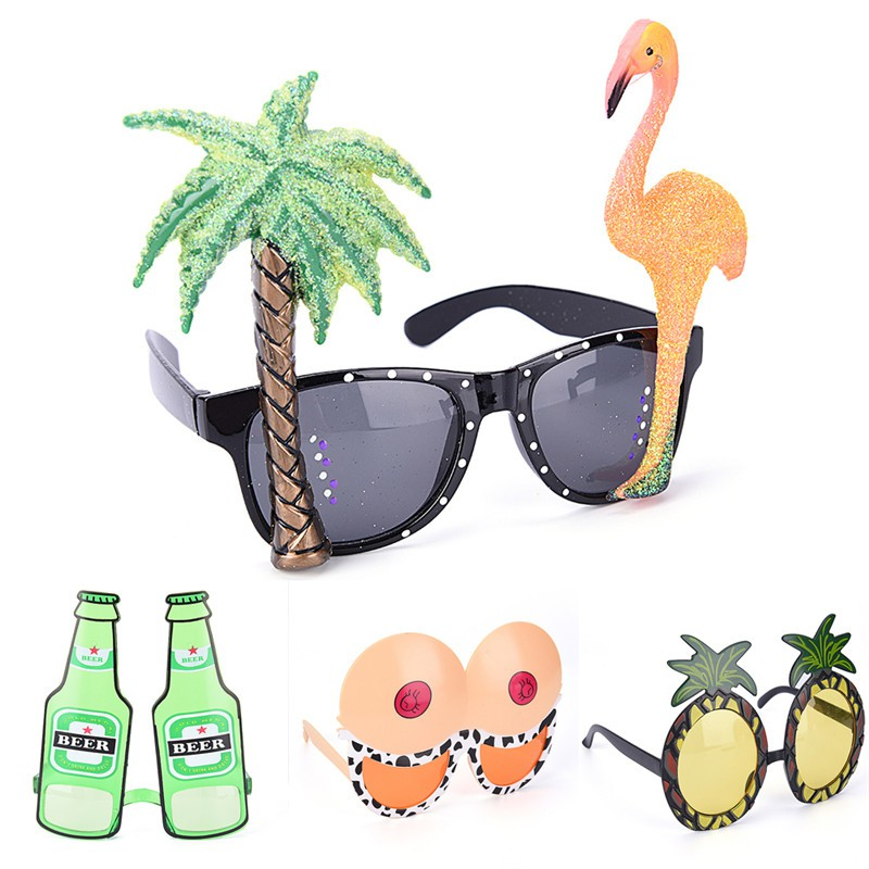 f7a4ee43c0 Novelty Flamingo Cocktail Hawaiian Sunglasses Fancy Dress Tropical Beach  Glasses