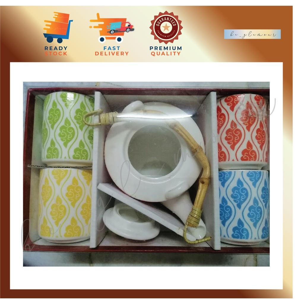 👉 Porcelain Tea Set /w 4 Tea Cups / Teapot Set / Glass Tea Servers💥⚡️READY STOCK⚡️