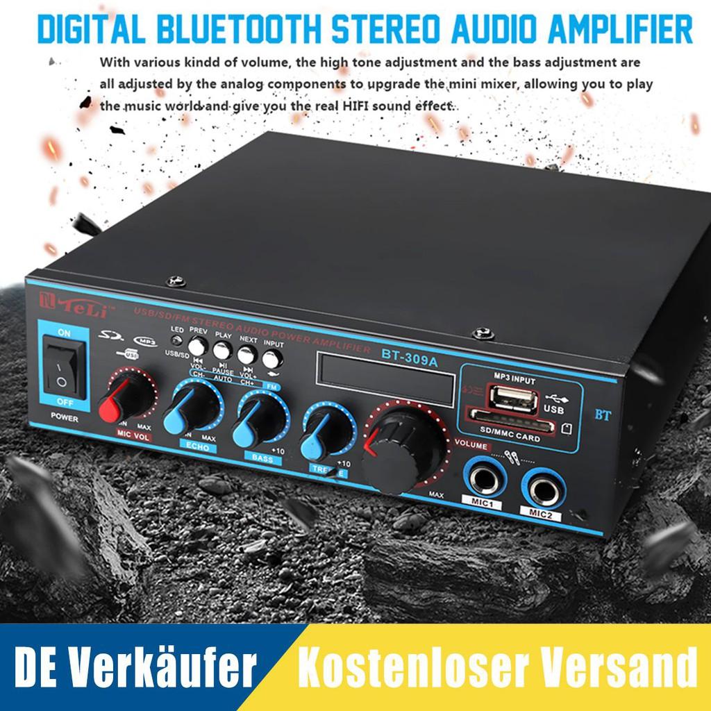 Hot! 800W 12V/220V Bluetooth Stereo Audio Amplifier Car Home HiFi Music SD  USB FM AMP