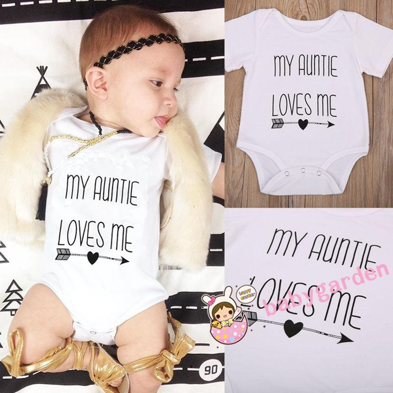 Newborn Infant Baby Boy Girl MY AUNTIE Romper Bodysuit Summer Clothes Outfits