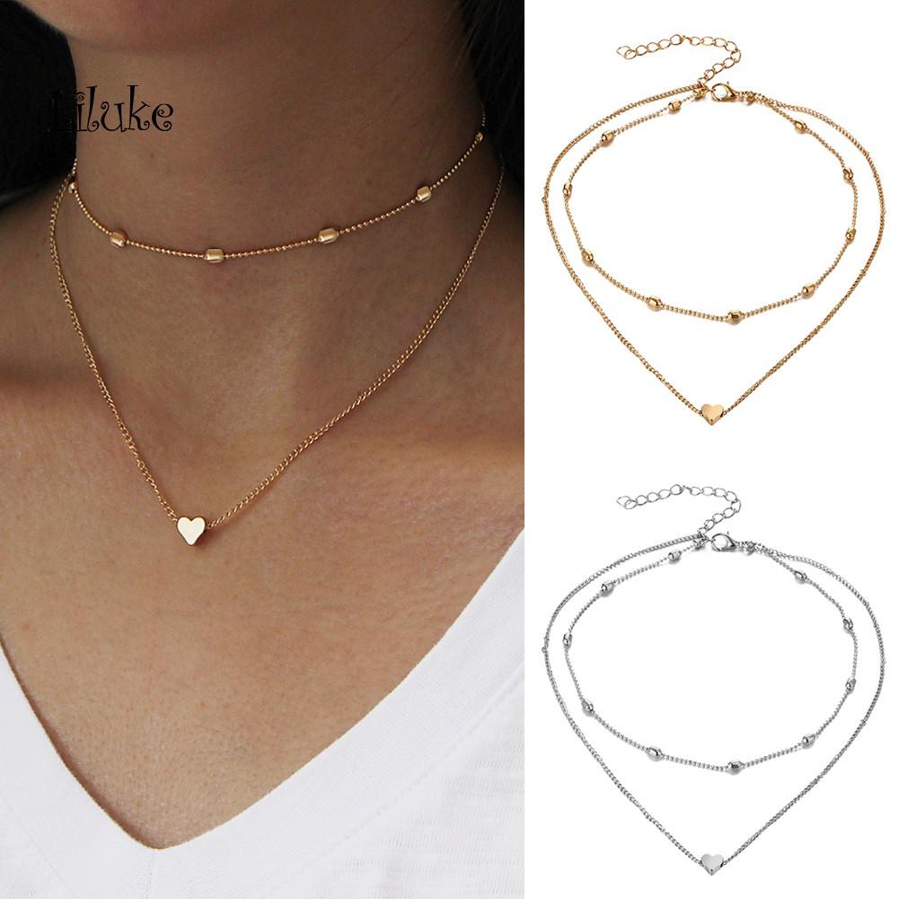LK/_ Fashion Choker Rhinestone Women Moon Pendant Charm Chain Necklace Jewelry