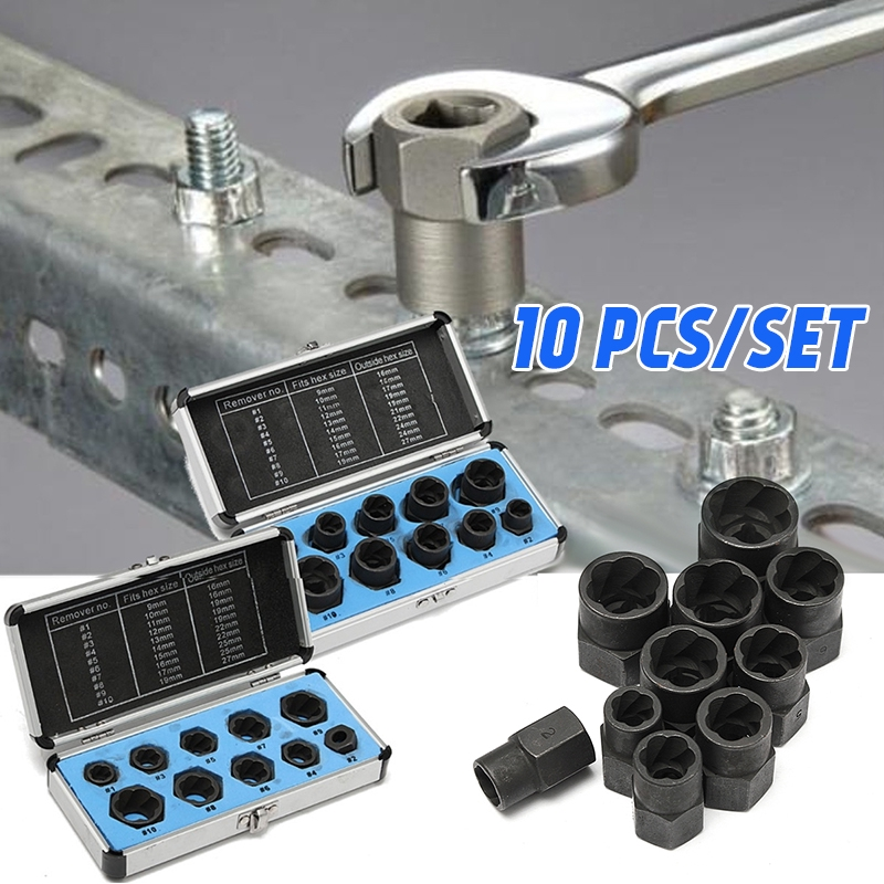 10 Piece High Set Cased Damaged Bolt Nut Screw Remover Extractor Removal Set