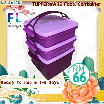 Tupperware Purple Triffin Delight Tapau Set 3 tiers with cariolier new item ready stock